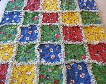 Farm Animals Baby Boy Rag Quilt Blanket Baby Boy Shower Gift Stroller Blanket Crib Farm Blanket Baby Boy Rag Blanket Cow Pig Sheep Barn