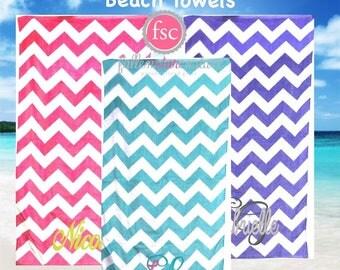 monogrammed chevron beach towels beach towels bridesmaid beach towels kids beach towels - Monogrammed Beach Towels