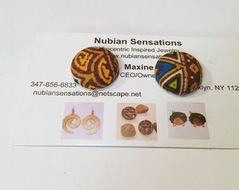 Afrocentric Med  Button Earrings
