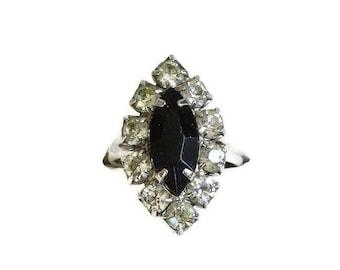 Signed Cathe' Rhinestone Ring with Black Marquise & Clear Rhinestones Vintage Adjustable