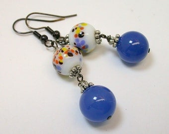 Vintage Japanese Millefiori White Orange Yellow Glass Bead Dangle Drop Earrings ,Blue Chalcedony Beads, Black French Ear Wires- GIFT WRAPPED