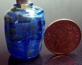 Blue Silver Luster fillable Lampwork Perfume Bottle - Workshop Clearence Slight Second