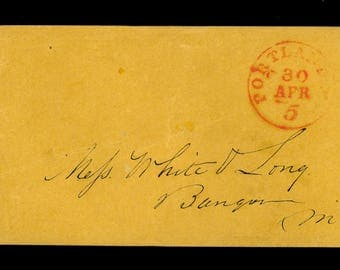 1850s US Stampless Cover Portland Mail Envelope White and Long Bangor Maine Red Circle Date Stamp Envelope R85