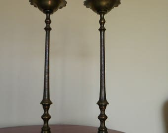 Vintage Tall Brass Etched Pair of Candlesticks Heavy