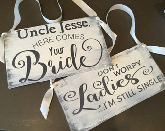 Here comes the bride sign, ring bearer sign set of 2,  wedding sign, KerriArt, wedding gift, wedding shower gift, bridal gift