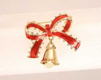 Christmas Bell Bow Pin Vintage Red Enamel Bow Brooch