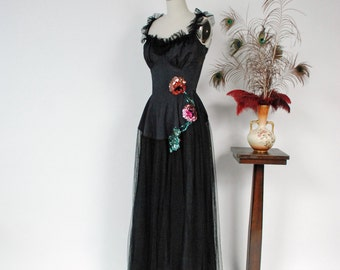 Vintage 1930s Dress - Glorious Black Tulle Net and Sequin 30s Evening Gown with Ruffled Tulle Neckline and Defined Bust