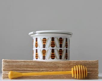Arabia Pomona Honey Pot, Bee Pattern, Scandinavian Modern Ceramics, Raija Uosikkinen Design, Arabia of Finland, Split Lid Jam Pot, Honey Bee