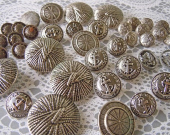 39 Vintage Silver Colored Metal Sewing Buttons Clothing Buttons Shank Buttons Boat Anchor Designs