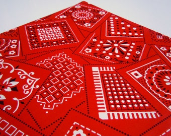 1970s All Occasions Red Bandana Wrapping Paper Red White Black Gift Wrap