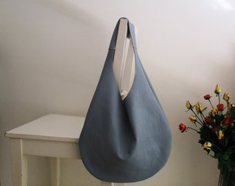 Pale Blue Genuine Italian Leather Hobo bag, Over Size, Slouchy, Shoulder bag