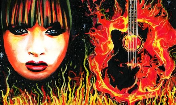 rock and roll chick painting fire woman guitar flames original art paintings music art goth punk pop art guitar art Elizavella