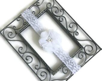 White flower elastic lace headband, shabby chic newborn headwrap, toddler baby flower girl christening baptism wedding communion photo prop