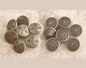 Bronze Metal Buttons 15mm - 5/8 inch Genuine Brass Mid-Century Buttons - CHOOSE Sun OR Star Burst - 8 Art Deco Gold Tone Buttons MT61 MT19