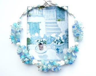SUMMER SKIES Statement Choker, Blue White Bridal Cluster Choker, Flower Choker, Art Nouveau Choker, Handlinked Necklace, Cottage Chic Choker