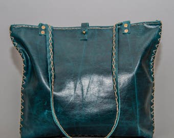 The Marissa Bag - Oil Tanned Leather Tote - Turquoise