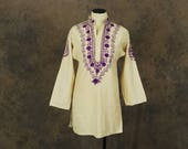Clearance Sale vintage 70s Embroidered Tunic - Ethnic Cotton Shirt 1970s Boho Hippie Blouse Sz M