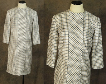 Clearance Sale vintage 60s Shift Dress - 1960s White Plaid Day Dress Sz M