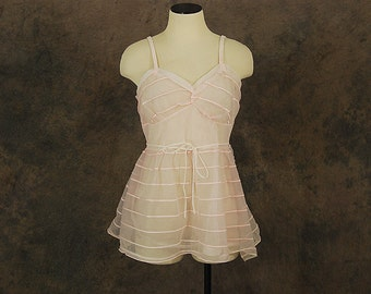 vintage 60s Cami - Sheer Pink Babydoll Camisole 1960s Lingerie Sz M 36