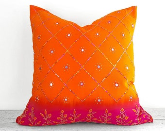 Luxury Beaded Silk Pillows, Fuchsia Orange Pillow Covers, Repurposed Wedding Sari Pillow, Beads, Unique Hand Dyed Bohemian Pillows 20x20