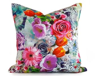 Bold Colorful Pillow, Floral Pillow Covers, Spring Floral Cushions, Digital Print Pillow, Vintage Style Pillows, Boho Chic Decor 18x18
