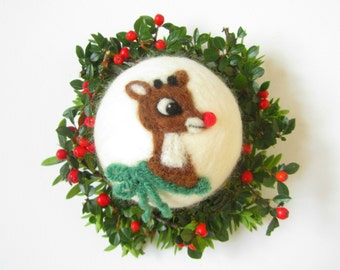 Rudolph the red nose reindeer,Felted ornament,Needle felted decoration,Wool ornament,Christmas Bauble