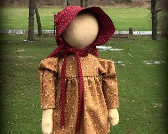 Handmade Standing Primitive Prairie doll in Gold