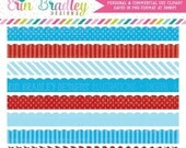 70% OFF SALE Blue and Red Scalloped Borders Clipart Graphics Polka Dotted and Striped Patterns Commercial Use Clip Art