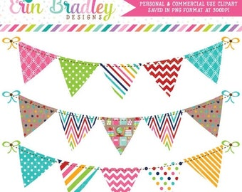 50% OFF SALE School Bunting Clipart Graphics Personal & Commercial Use Banner Flag Clip Art Set