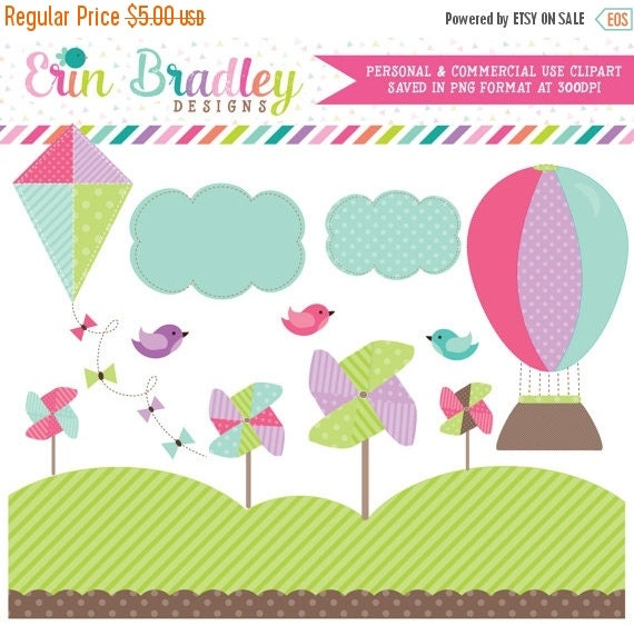 60% OFF SALE Digital Clipart Hot Air Balloon Pinwheels Kite & Birds Commercial Use Clip Art Graphics
