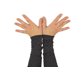 Arm Warmers in Black and White Polkadots - Long Cuffs - Fingerless Gloves - Sleeves