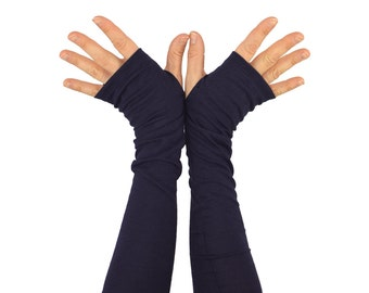 Arm Warmers in Absolute Aubergine - Eggplant Purple Navy - Organic Cotton Fingerless Gloves