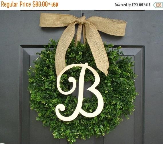 SPRING WREATH SALE Monogram Boxwood Wreath, Fall Monogram Wreath with Burlap Bow, Housewarming Gift, Wedding Wreath 16- 22 Inch Available