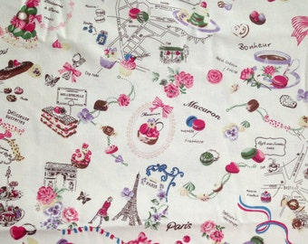 Fabric, Cream, Pink, Paris, Afternoon Tea, France, Eiffel, Macaron, Macaroon, Canvas, children, cartoon, vintage style, textile, ONE YARD