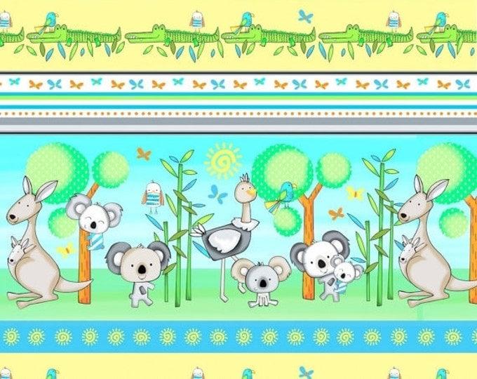 On Sale Koala Party Kangaroo Fabric, Koala Bears, Stripe Fabric, Kangaroos, Crocodiles by Studio E
