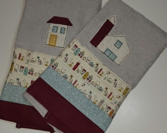 Hand Towel /  Little Houses Country style / shabby chic / gray terrycloth / handmade