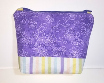 Lavender Zipper Pouch, gusset bottom sturdy carry-all, travel pouch, cosmetics, phone, zippered bag