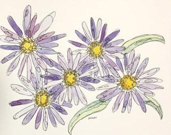 Purple Asters 8x10 watercolor painting by Nan Henke, original