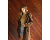20% off SALE ... Brown Suede Leather Mid Length Coat - Vintage 90s - S/M