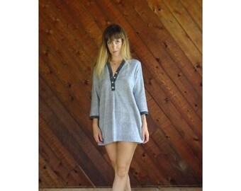 20% off SALE ... Woven Beachy 3/4 Sleeve Mini Dress - Vintage 90s - MEDIUM Petite