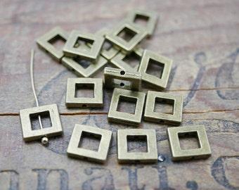 Pewter Bead Metal Bead Square Bead Frame Bead Antiqued Brass Bead 10mm (6) P137