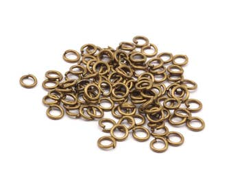 4mm Jump Ring - 100 Antique Brass Round Jump Rings Connectors Findings (4x0.70mm) R-08 ( A0339 )