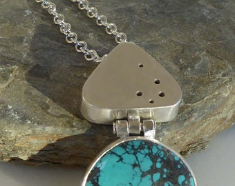 Turquoise hollow form silver pendant silver chain