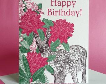 Rhododendron Birthday, Valentine, or Blank Note Card