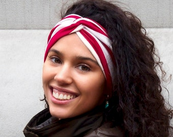 Red White Stripes Turban Twist Women's Soft Headband Workout Headband Yoga Headband Hair Accessory Hair Wrap Head Wrap Spring Fashion
