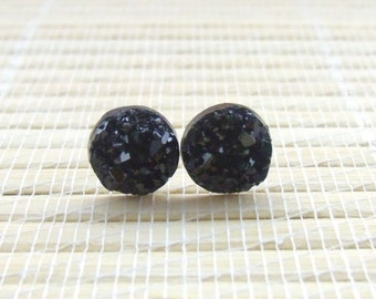 Black Druzy Faux Studs Rose Gold Plated 10mm