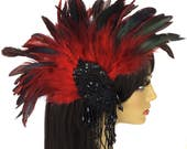 Red Feather Fascinator, Fancy Feather Fascinator, Red Feather Hair Clip, Black Sequin Fascinator, Dressy Fascinator, 1920s Fascinator