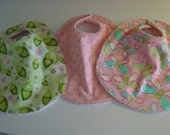 Set of 3 baby girl baby bibs  with chenille