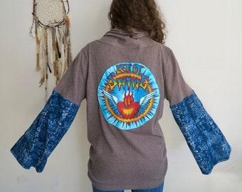 Grateful Dead Let It Shine Brown Sweater Bell Sleeve Hippie Jacket Festival Sweater OOAK Eco Friendly Size XL
