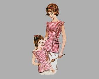 1963 Apron sewing pattern Butterick 2518, Mother sz 10-16 / Daughter sz 3-7, Front pockets, Ruffled bib Hip length Tie in back sash Complete